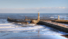 Pier at Whitby (robin denton) Tags: whitby hdr seascape sea waterscape water coast eastcoast yorkshirecoast waves winter port harbour yorkshire northyorkshire seaside