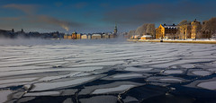 Breaking the ice (snowyturner) Tags: stockholm floes mist ice buildings panorama winter clouds freezing cold
