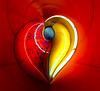 Heart of Fire by Simon & His Camera (Simon & His Camera) Tags: red yellow heart architecture distorted abstract art colours lines curve pattern simonandhiscamera bright