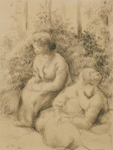 Deux paysannes assises (C Pissarro)