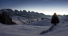 Toggenburg (Martin Häfeli Photography) Tags: churfirsten toggenburg chäserrugg hinterrugg schibenstoll zuestoll brisi frümsel selun unterwasser wildhaus gamplüt switzerland evening bluehour blue hour snow mountains mountain tree hut hütte alphütte night valley schnee winter