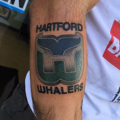 Hartford whalers tattoo by Wes Fortier at burning hearts tattoo company 1430 Meriden Rd., Waterbury, ct