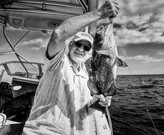 Illegal Black Grouper (Denzil D) Tags: blackandwhite bw fish clouds florida atlanticocean floridakeys saltwater wifephoto boatfishing oceanfishing olympuspointshoot winteringinflorida fishingtheatlantic
