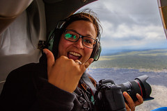 2015-08-27 - Mireille In The Chopper (www.bazpics.com) Tags: red sky river flow island vent volcano hawaii lava fly big paradise air steam helicopter caldera barry hi bigisland helicopters erupt mireille fromtheair active vents windowseatplease copters paradisecopters windowsremoved