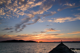 The setting sun of the fishing port