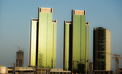 Double Towers (Ahmad-Salah) Tags: new sunset sun building green beautiful sunshine architecture lens island reflex amazing nikon afternoon view outdoor uae like engineering double abudhabi share d3200