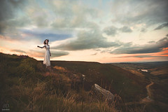 Beckon ({jessica drossin}) Tags: road uk sunset portrait england sky woman white girl lady clouds photography bride alone dress yorkshire moors heights solitary bronte wuthering jessicadrossin wwwjessicadrossincom jdbeautifulworldcollection
