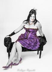 Karen, sitting pretty ! (lizzieisdizzy) Tags: sexy beautiful beauty smile smiling female eyes shoes pretty dress lace lips stool busty crossedlegs sittin chaiselongue fascinator longlegged purpl fullbosomed longhaie