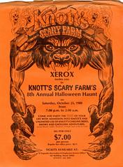 Halloween Haunt flier, 1980 (jericl cat) Tags: orange halloween illustration logo design wolf claw maze annual fangs 8th wolfman xerox claws haunt knotts scaryfarm
