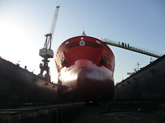 In Dry Dock (Gunnar Eide) Tags: ocean sea yard dock ship crane transport maritime shipping tanker tankers odfjell