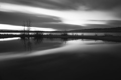 Dawn Breaks (mclcbooks) Tags: dawn sunrise daybreak morning clouds light sky lake trees silhouettes reflections chatfieldstatepark lakechatfield colorado le longexposure bw blackandwhite monochrome