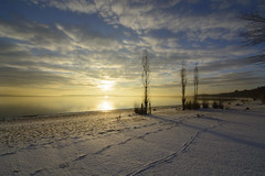 December sunrise at The Point (Barbara A. White) Tags: sunrise constancebay beach thepoint westcarletoncounty ottawariver landscape december snow footprints clouds canada