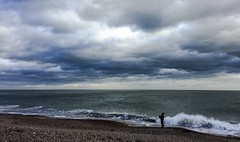 Lone Piper... (Mike Turner) Tags: southseaseafront southsea bagpipes piper bagpiper iphone iphone6 eastney eastneyseafront solent portsmouth clouds cloudporn waves surf shore shoreline
