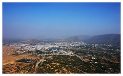 Holy city of Pushkar : Bird eye view (Anindya_Doordarshan) Tags: pushkar ajmer rajasthan fair camel india canon brahmatemple travel top view aravalli mountain landscape ngc