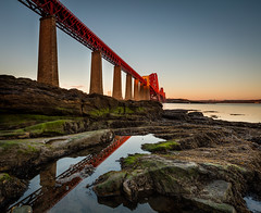 Sunrise Reflection (Fifescoob) Tags: bridges landscape queensferry forth sunrise scotland structure engineering railway bridge canon 5ds reflect reflection puddle