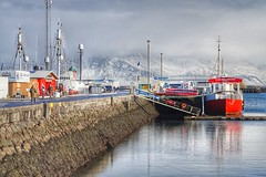 Reykjavik, Iceland (LucyGeater) Tags: colour sonya5000 water sonyalpha snow sony winter landscape stunning mountains snapseed boats iceland oldharbour harbour reykjavik