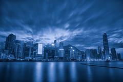 Hong Kong : BW Blue Tone (Yohsuke_NIKON_Japan) Tags: 2016 december hongkong wanchai hongkongisland hk china asia night nightview bw blackandwhite blue bluetone d750 nikon 24120mm zoomlens kongexposure clouds ifc 1ifc 2ifc bankofchinatower skyscraper building urban city
