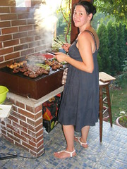 What ya cooking honey???? BBQ Time:) (seanfderry-studenna) Tags: bar be que bbq cooking food meat outdoor outside july 2016 summer hot warm nina blue dress white sandals bare tan tanned skin shoulders face legs arms hands veranda brunette hair up serb croatia hrvatska europe eu european balkans beauty beautiful gorgeous stunning charming woman female lady girl girlfriend fiancee wife happy neck throat earring