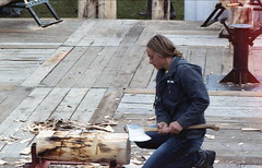 Sheffield Lumberjacks (rentavet) Tags: sheffieldpa sheffieldjohnnyappleseedfestival nikkormatel kodakhawkeyesurveillancefilm analog nikkor105mm lumberjill standingblock