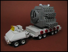 Heavy Wide Load (Karf Oohlu) Tags: lego moc microscale primemover trailer tractortrailer wideload heavyload transport transporting