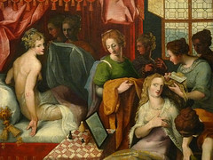 DUBREUIL Toussaint (et Atelier),1594-1602 - Hyante et Climène à leur Toilette (Louvre) - Detail 002 (L'art au présent) Tags: art painter peintre details détail détails detalles painting paintings peinture peintures 16th 16e peinture16e 16thcenturypaintings 16thcentury detailsofpainting detailsofpaintings tableaux peinturefrançaise frenchpaintings louvre paris france museum toussaintdubreuil toussaint dubreuil wash miroir mirror hair longhair cheveux cheveuxlongs servante servant handmaid room bedroom chambre bed lit figures people nakedwoman nakedwomen femmenue nuféminin nudity nudité bare nude femme woman women young jeunesfemmes amphore amphora rideaux fenêtre windows curtains