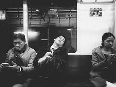 Subway people (-Faisal Aljunied - !!) Tags: noir blackandwhite train sleeping tired tokyosubway iphone7plus faisalaljunied tokyo metro