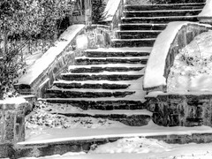 Watch Your Step (clarkcg photography) Tags: snow steps stairway outside rock ice cold slick slippery fall winter blackwhite blackwhitethursday7dwf 7dwf