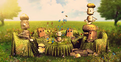 Stone robot newborn (meriluu17) Tags: boudoir mushilu stone stones grass grassy furniture nature outdoor fantasy surreal magic magical creepy robot robots stonerobot green yellow flower flowers copper baby babyborn newborn birthday enviroment
