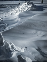 snow piles and drifts