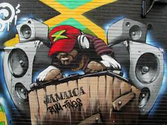 JAMAICA - rum tings (pefkosmad) Tags: street city uk england urban streetart art public wall bristol graffiti dj outdoor jamaica publicart stokescroft prsc peoplesrepublicofstokescroft rumtings