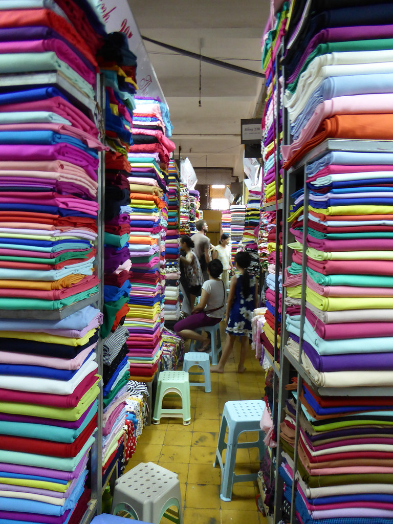 Shopping in the fabric market