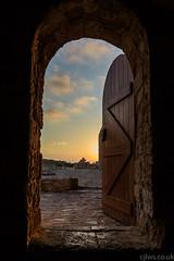Sunset at the old fort - Nikon 1 J5 (Cjlws) Tags: door sunset castle stone clouds 1 wooden nikon fort doorway 28 nikkor j5 10mm cjlws