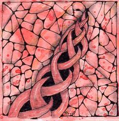 Coaster -  015 (ronniesz) Tags: art ink watercolor handmade patterns crafts visualarts strings doodles linedrawing penandink micron tangles zentangle zentangleinspiredart finelinecoloredpens