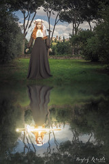 The Return of the Sword (Hayley Roberts Photography) Tags: selfportrait reflection water composite photoshop glow ripple fineart manipulation medieval howto sword trickphotography tutorial excalibur palatinehill ladyofthelake magicalrealism conceptualphotography learnphotography