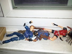 a disaster (weirdokay) Tags: actionfigures leonskennedy residentevil messedup zombiecop residentevil2 claireredfield halfzombie
