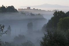 Misty sunrise over Siena (Michel Couprie) Tags: trees italy mist misty architecture composition sunrise canon landscape eos mood tuscany 7d siena michel couprie