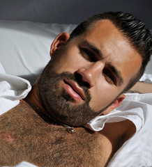1113 (rrttrrtt555) Tags: hairy armpit muscles shirt tattoo hair buzz beard necklace bed bedroom eyes masculine chest lounge sheets chain pillow squint freckles flex buzzcut