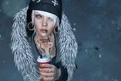 Coffee and Cigarettes (Flit Ulrik // Agent Orange) Tags: life road blue winter girls portrait snow game ice cup coffee girl cake tattoo female silver fur gold necklace video eyes mod punk december break hand mesh little cigarette kunst smoke coat teeth avatar suicide arcade gap ears mandala dirty smoking toque sl chain rings jacket cap secondlife blonde bones second fingernails tunnels stretched beanie stinger ro scar unisex luxury rare alternative oblivion holder remarkable dystopia tmd 2015 gacha flite chronokit