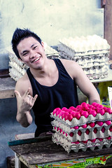 Salted Eggs Vendor (philwarren) Tags: man market philippines eggs filipino vendor davao salted