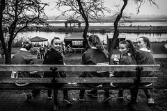 Who's calling us? (The Ultimate Photographer) Tags: girls run santarun santafunrun christmas groupofgirl streetphotography theultimatephotographer fivegirls five bench sittingonbench maldon essex 2016 drf race racing finishline