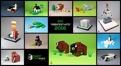 """My """"Greatest Hits"""" 2016 - Snot your world (moctown) Tags: lego musicians lion gorilla pig pinguin frog chapel bison roadster library flagship mammoth chess animals"""