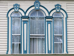 Three arches:  Searsport, Maine, USA (Spencer Means) Tags: building house victorian window arch molding moulding blue town searsport maine usa coast curtain wood wooden dwwg down east downeast