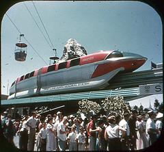 Tomorrowland Reel 3, #7a - Crowds View the Monorail, Skyway and Matterhorn (Tom Simpson) Tags: viewmaster slide vintage disney disneyland 1960s vintagedisney vintagedisneyland