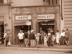 Firenze, Italy (RoccerSoccerDave) Tags: italy firenze street people sepia canon powershot sx220hs