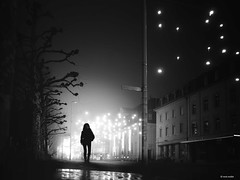 Before the xmaslights are removed (René Mollet) Tags: xmaslights xmas night nightshot fog foggy mist misty aarau mainstreet street streetphotography silhouette shadow monchrom monochromphotographie blackandwhite bw renémollet ©renemollet