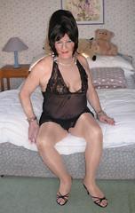 Amyblaneg (fionaxxcd) Tags: crossdresser crossdressing xdressing m2fmtf transvestite trannie tranny bust tatoo pinknails stilettos blackteddy highheels thong redlipstick bangles sandals