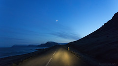 night ride along the fjord (lunaryuna) Tags: iceland northwesticeland westfjords onroutetopatreksfjordur nightride nightphotography nocturnalphotography lightmood journey travel voyage moon nightsky lunaryuna coast fjord seascape landscape