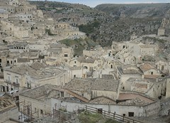 Italy (Matera) Aerial view of Sassi-Cave houses dug into the limestone rocks (World Heritage Site) (ustung) Tags: italy matera sassi cave house limestone rock dugintorock aerial view landscape cityview nikon architecture stonework outdoor