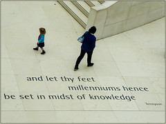 And let Thy Feet........ (Mabacam) Tags: 2017 london thebritishmuseum thegreatcourt quote tennyson alfredlordtennyson child woman feet