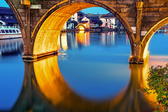 Arch in Arch (explored) (Magma917818) Tags: shanghai shanghaishi china cn arch ancienttown ancient river water night nightpicture nightlight inside blue orange interesting bridge longexposure peaceful zeiss carlzeiss milvus milvus1450 milvus1450zf2